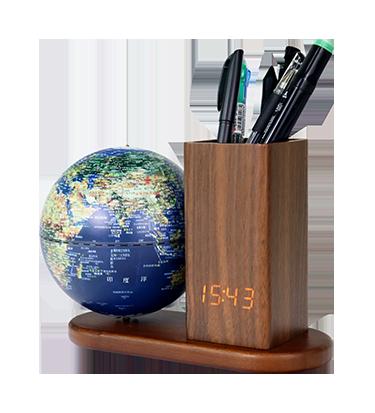 5英寸电子时钟笔筒亮灯地球仪